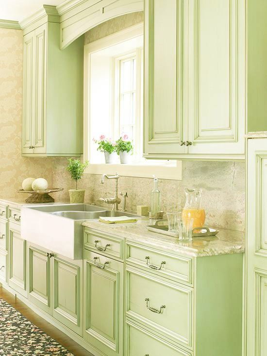 Gree N White Combination For Kitchen Cabinets Kitchen In Light, Spring Green And White. So Country And