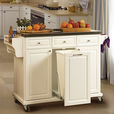 White kitchen cart with trash pull organize your home