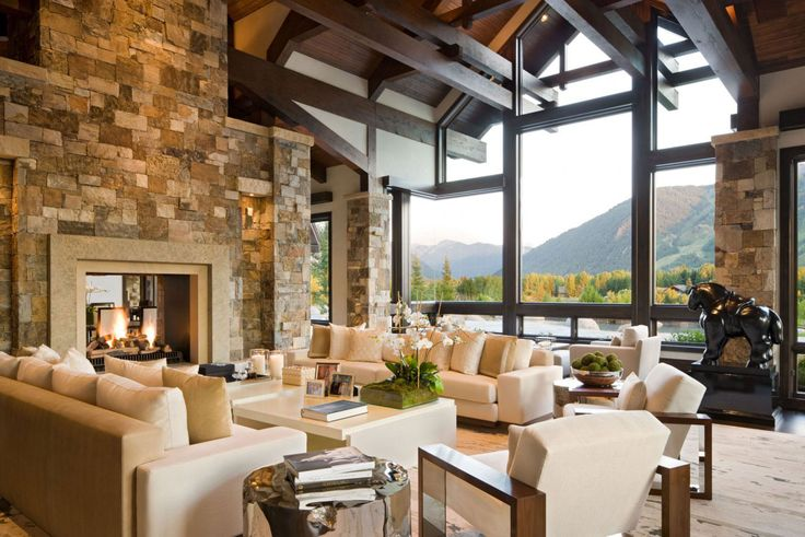 Two-Story Great Room With Beams | Rustic Modern Living Room House