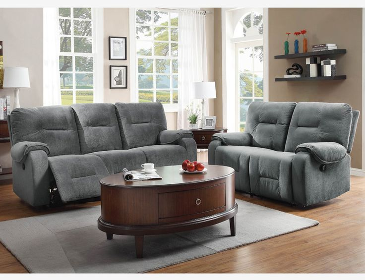 Sofas In Value City Furniture Blue Grey Microfiber Power Reclining Sofa Couch Loveseat