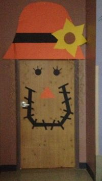 Scarecrow door decoration I created with contact paper and ...