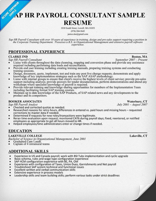 hr payroll resume examples