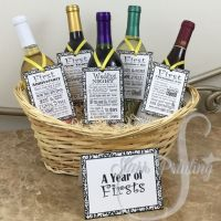 set! Bridal Shower Wine Basket Gift Set with 5 tags and