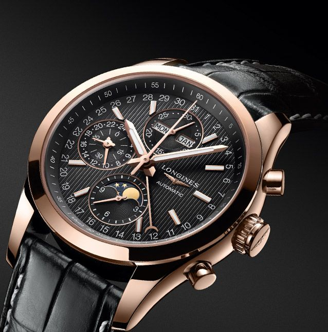 Longines Conquest Classic Moonphase 18k Rose Gold Case