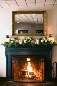 White and Green Mantel Garland | Flower, Fireplace mantels ...