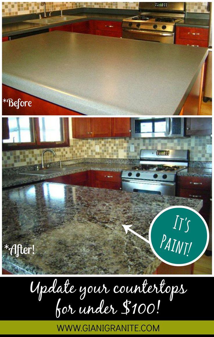 diy countertops inexpensive kitchen countertops Affordable countertop makeover Paint that looks like granite DIY www gianigranite