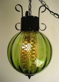 Vintage Spanish Gothic Optic Glass Swag Lamp, Retro ...