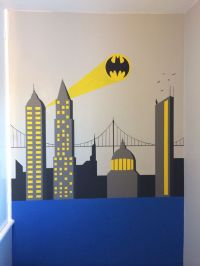 Batman wall painting. Superhero themed bedroom for my 5yr ...
