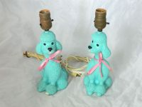 French Poodle Table Lamp Pink Aqua Turquoise Vtg Retro 50s ...