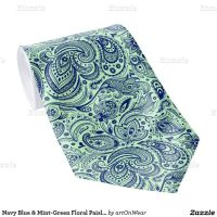 Navy Blue & Mint-Green Floral Paisley Pattern Tie ...