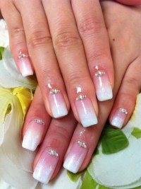 :) Pink and White Gradient Nails with Rhinestones   my ...