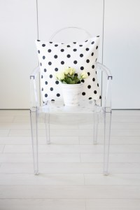 Ghost chair and polka dot pillow. | I Spy Apartment ...