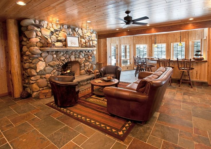 Knotty Pine With Slate Tile Floor Or Laminate That Looks