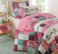 Toddler Bedding Set Owl Birds 3pc Quilt Set Turquoise ...