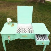 mint green and chevron desk/vanity | Junktiques: Furniture ...