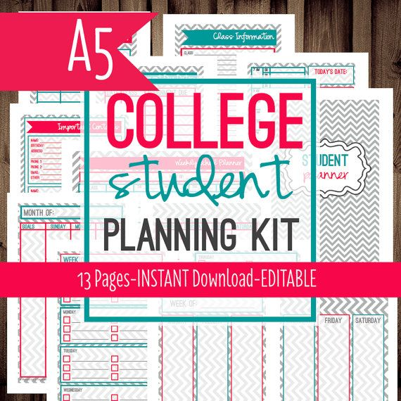 organization printables for college students