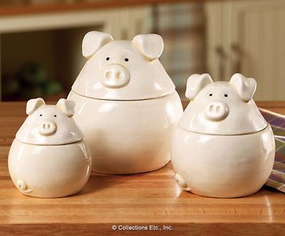 3pc Piglets Canister Set Pigs Piglets