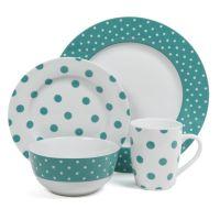 This bold 16-piece ceramic dinnerware set features a fun ...