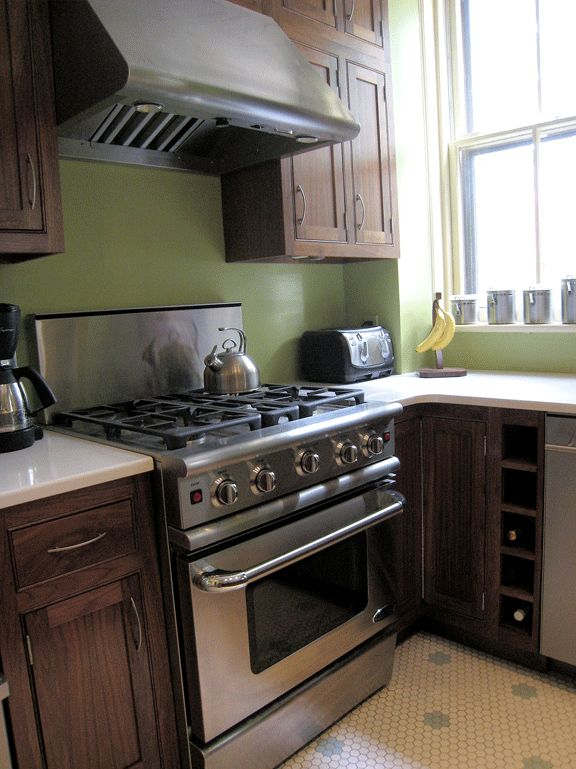 Mix Of Dark Brown Cabinet Stainless Steel Appliance And