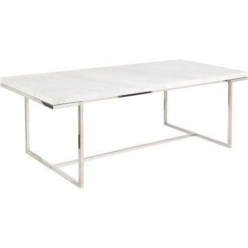 Dining Table With Stainless Steel Legs And A White Marble