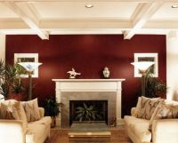 burgendy Accent Wall | Burgundy accent wall in Living Room ...