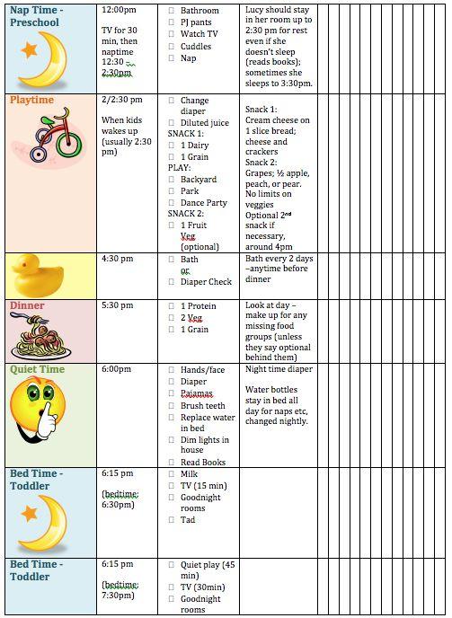 children daily schedule template