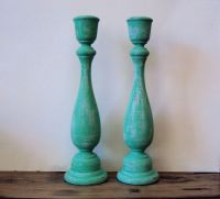 Bohemian Distressed Candlesticks - Set of 2 Tall Teal ...