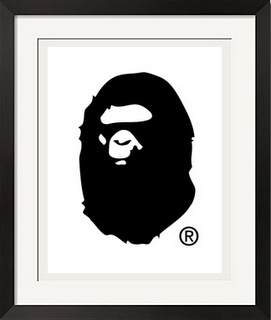 Iphone X Wallpaper Outline A Bathing Ape Black Bape Poster Print On The Wall