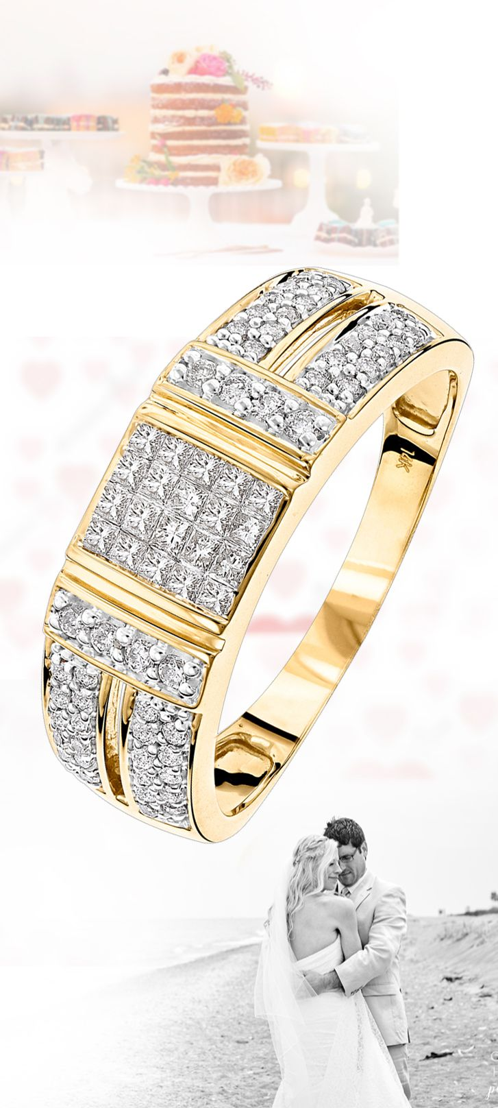 mens wedding ring law enforcement wedding bands 14K Gold Diamond Ring w Round Princess Diamonds 0 85ct