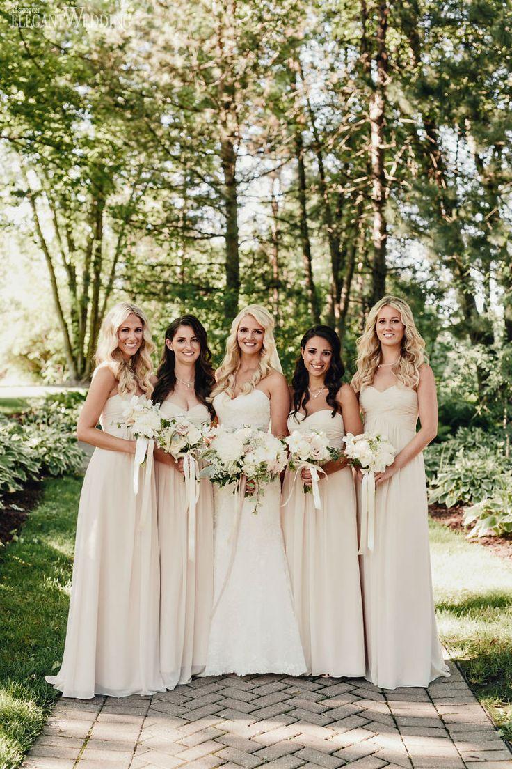 outdoor bridesmaids dresses ivory wedding dresses Ivory and cream bridesmaids dresses from Bill Levkoff VINTAGE PINK IVORY OUTDOOR WEDDING www
