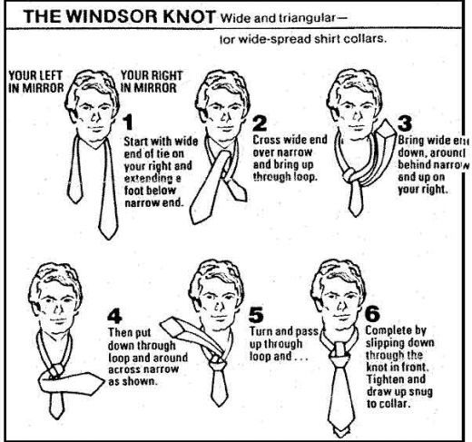 how to tie a windsor knot diagram pictures 4