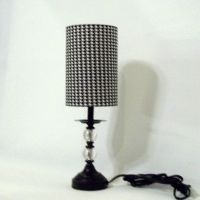 Lamp and drum lamp shade in black and white houndstooth ...