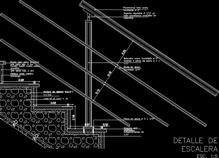 Detail Railing Tangga Staircase Details | Stair Detail In Autocad Drawing
