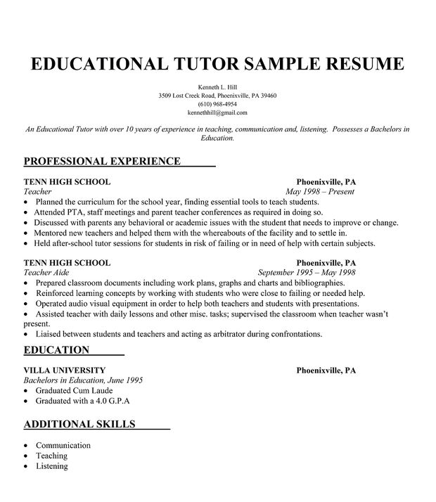 Writing An Effective Academic Cv Elsevier Educational Tutor Resume Sample Resumecompanion