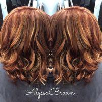 long bob, short hair, red hair, caramel, blonde highlights ...