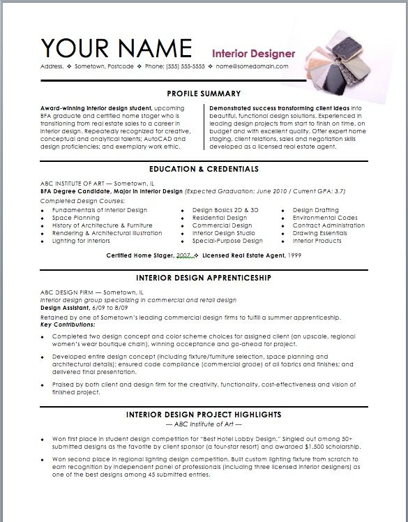 resume objective for interior design jobs