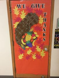 Thanksgiving classroom door woven cornucopia, leaves with
