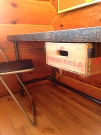 Antique Pepsi wood crate drawer on black iron pipe desk ...