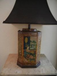 Vintage Asian 1950's TEA TIN Table Lamp Frederick Cooper ...