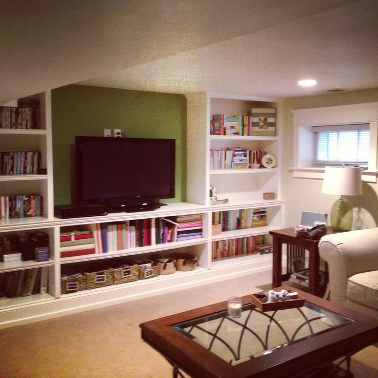 Storage Cabinets With Doors And Shelves Ikea Basement. Rec Room. Tv Room. Built In Shelves. | Follow