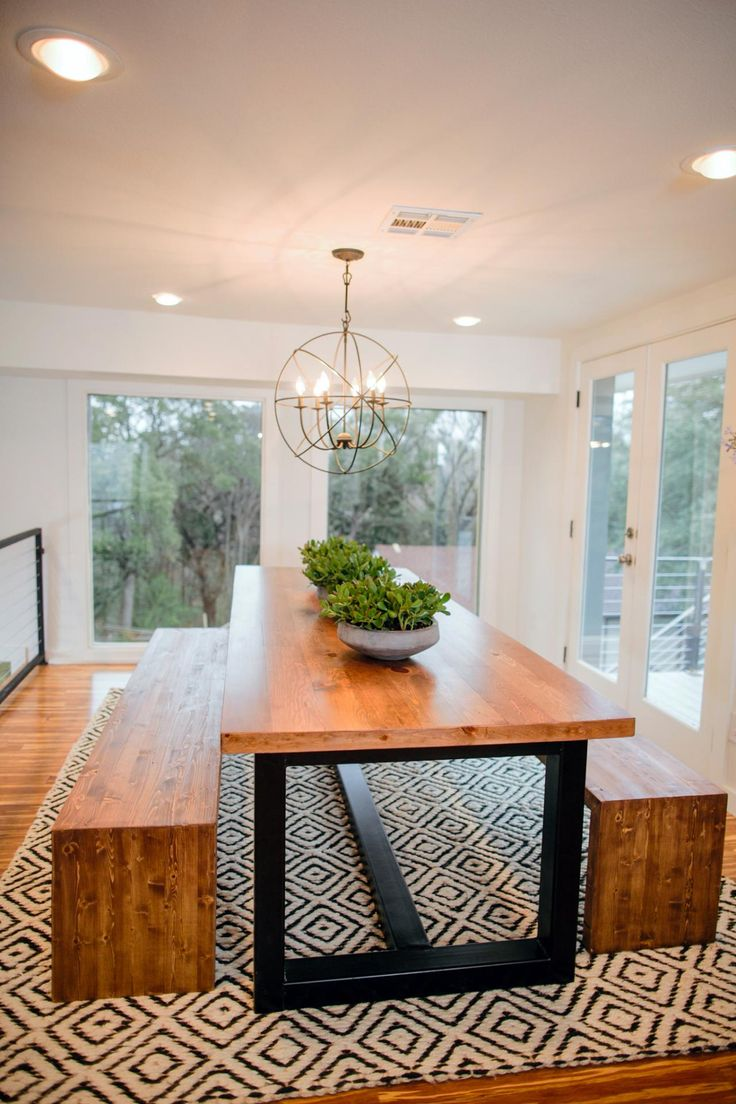 modern dining table kitchen table designs Fixer Upper Bringing a Modern Coastal Look to a Faceless Bunker
