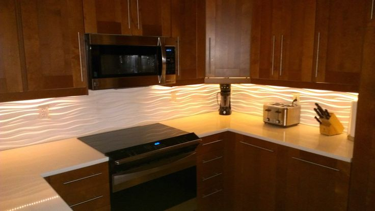 "Kitchen Ideas With Light Wood Cabinets Our Kitchen With A Modular Tiles ""dune"" Backsplash And Led"