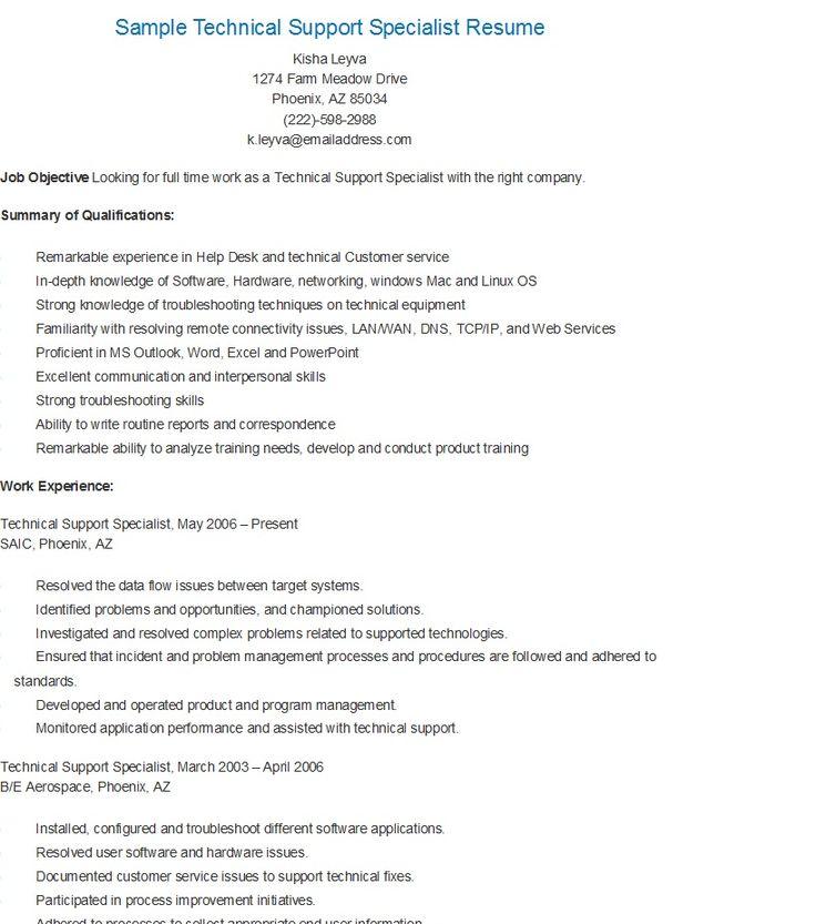 mechanical engineering resume objective megakravmaga com resume samples for technical support - Technical Support Specialist Resume