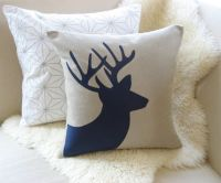 Deer Pillow Cover - Rustic Modern Holiday | Stag antlers ...