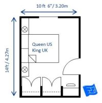 Small bedroom design for a queen sized bed but with a more ...