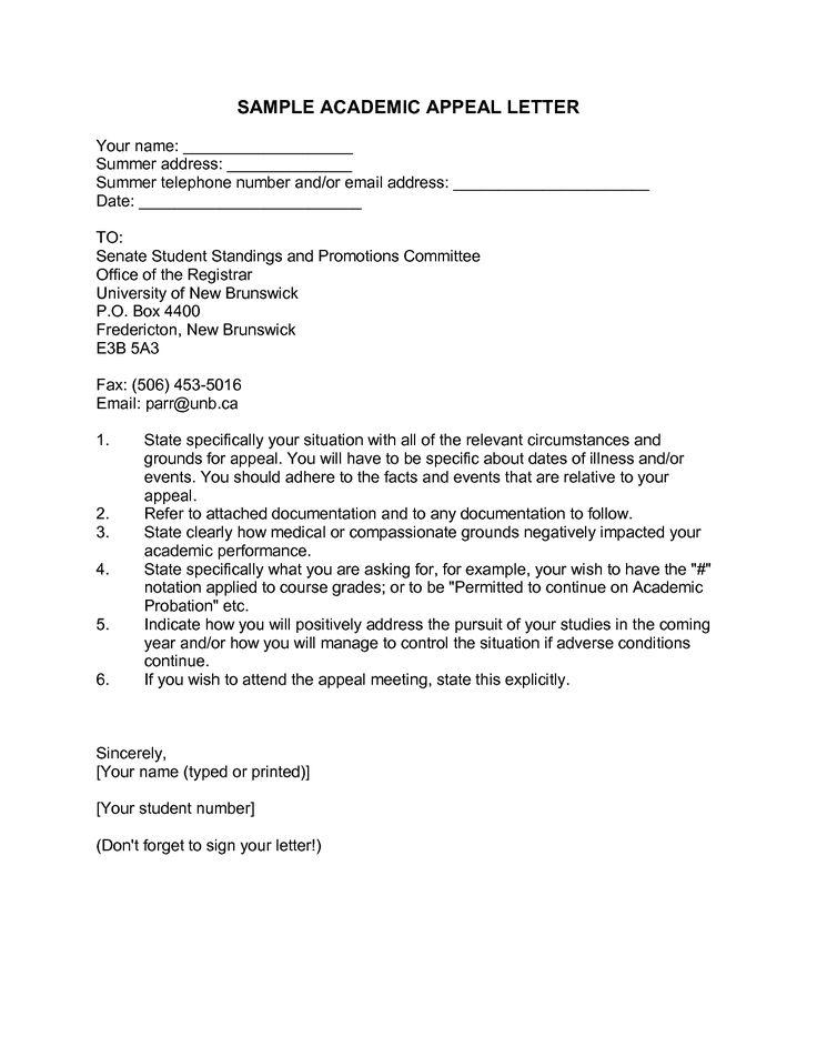 sample academic dismissal appeal letter
