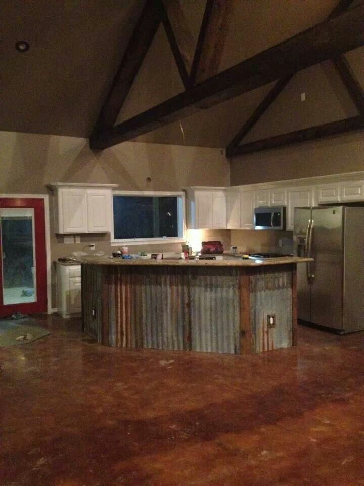 Corrugated Metal Kitchen Island Rustic Island With Metal Barn Siding | Island Ideas