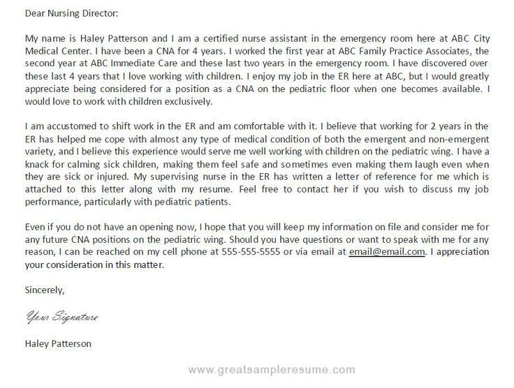 Certified Nursing Assistant Cover Letter Sample No