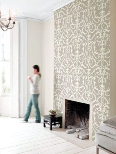 Wallpaper just the chimney breast, solid colour on other ...
