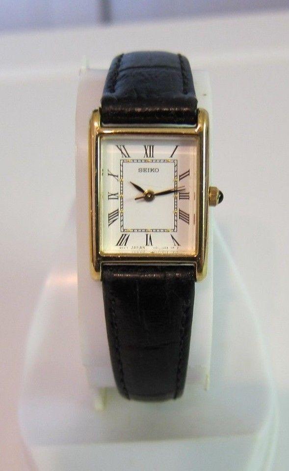 Vintage Ladies Seiko Wrist Watch White Dial Leather Seiko